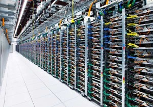 Racks in a Google Data Centre
